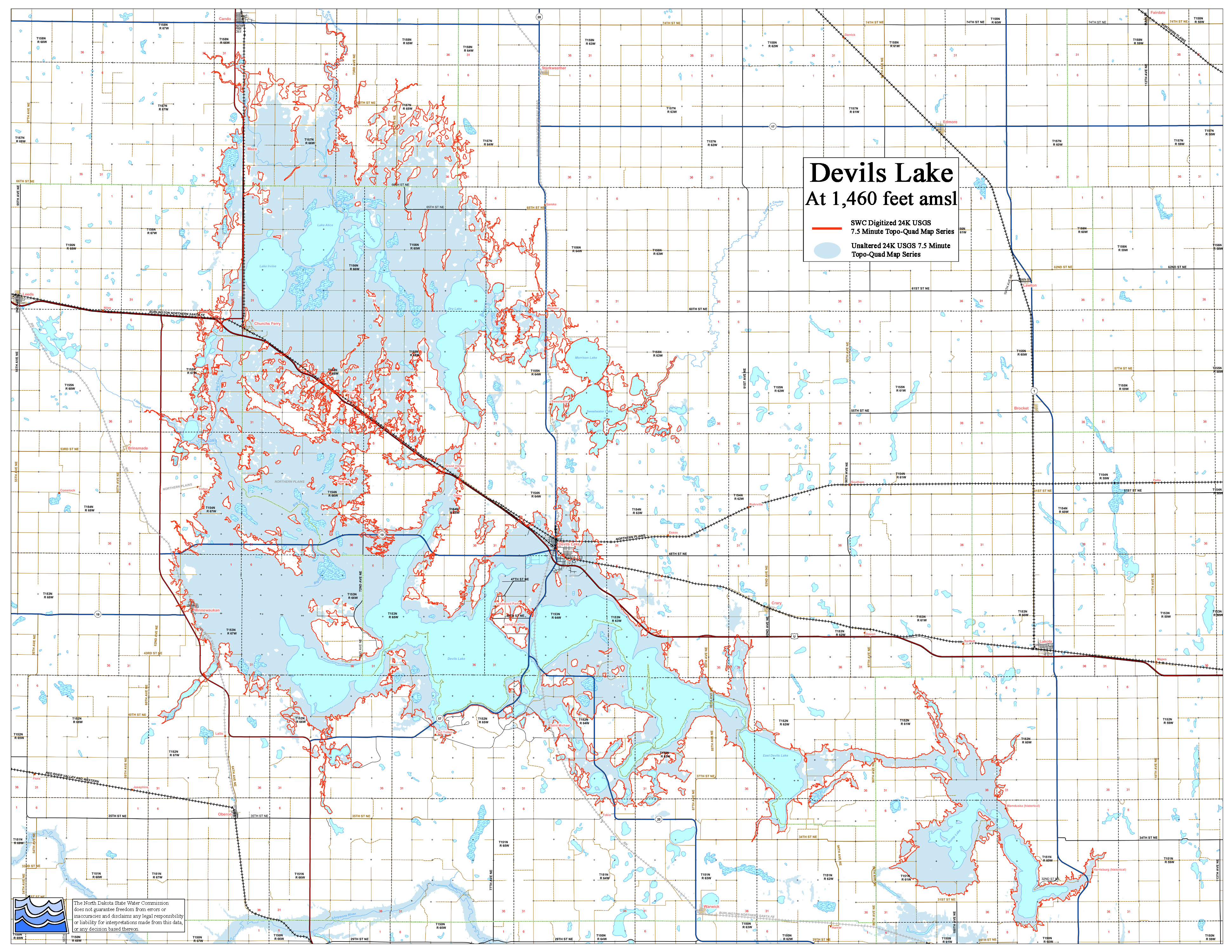 Devils Lake Map ND State Water Commission
