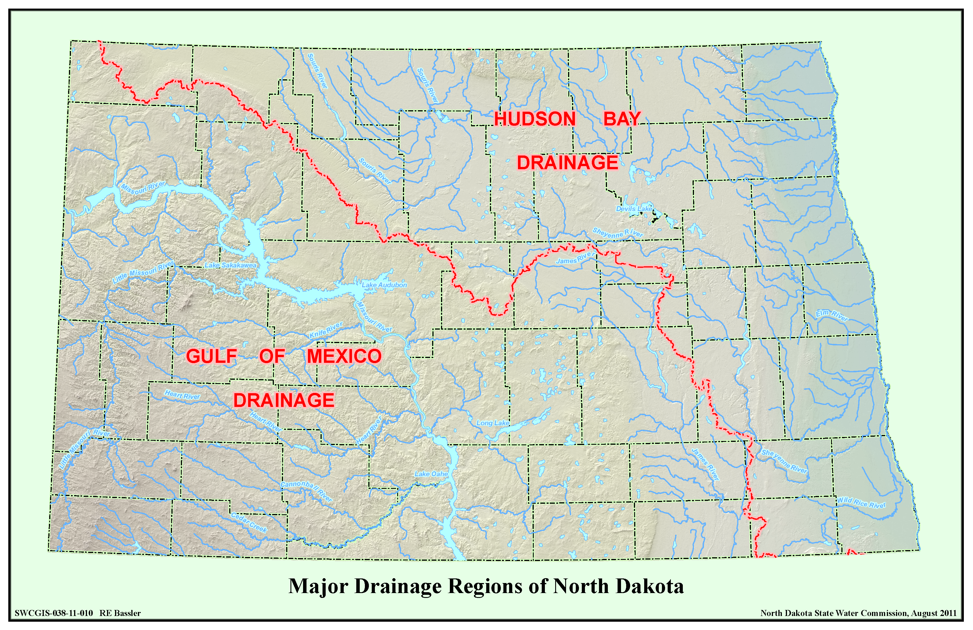 Major Drainage Regions of North Dakota