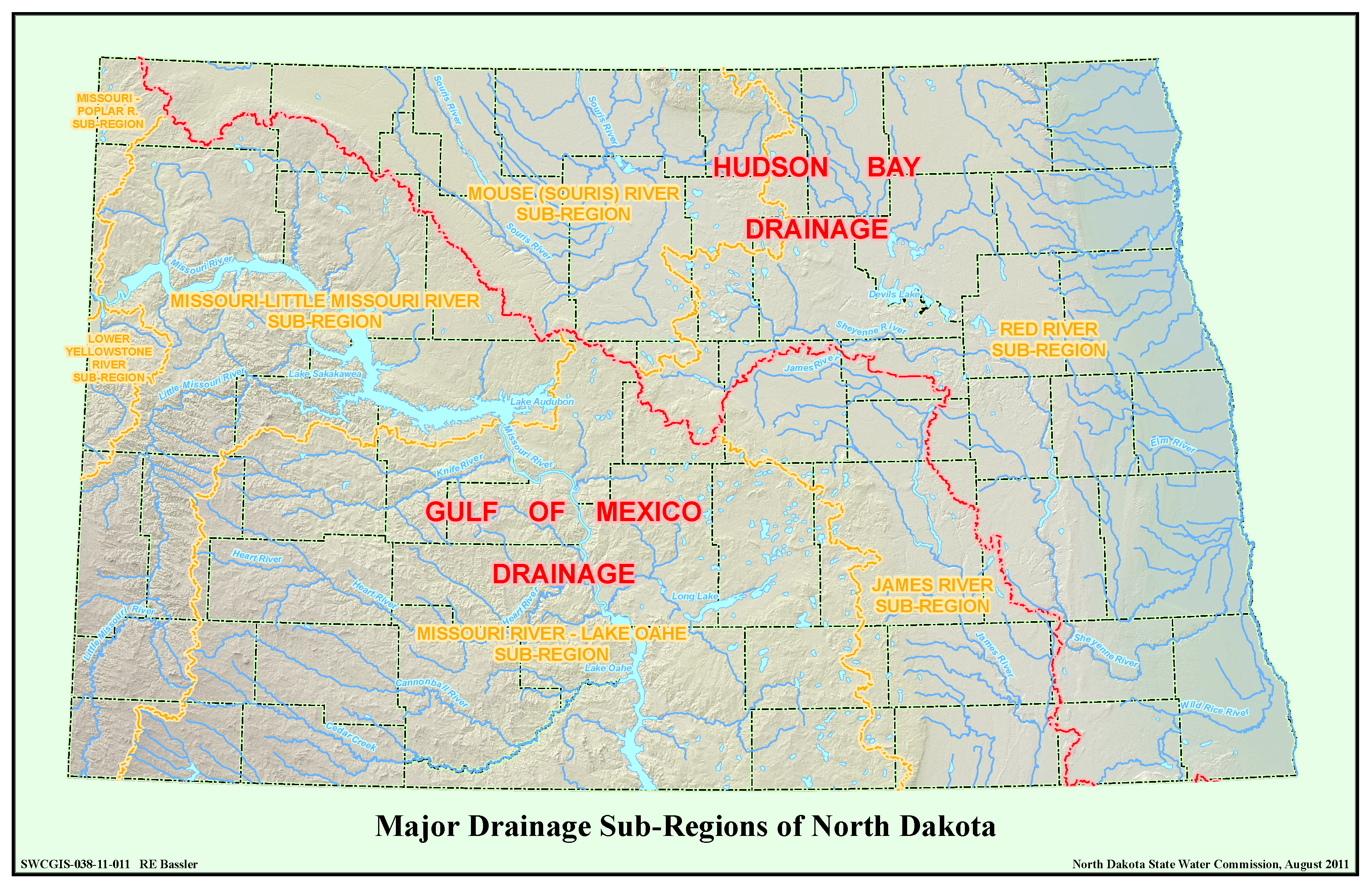 Major Drainage Sub-Regions of North Dakota