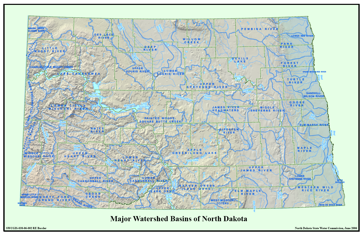 Major Drainage Sub-Basins of North Dakota